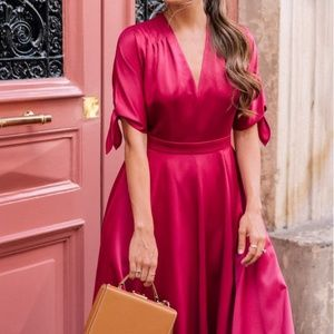 Gal Meets Glam Debbie Satin Fit & Flare Dress